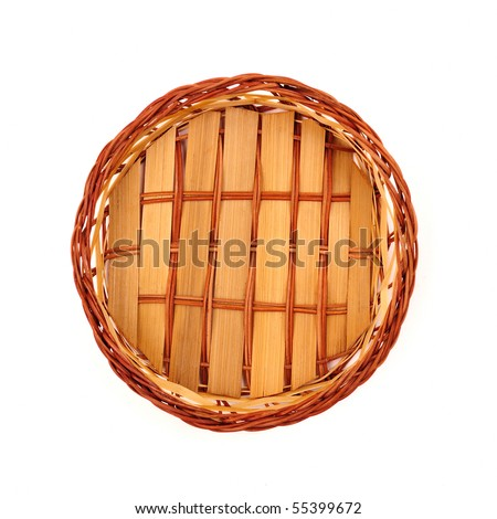Empty fruit or bread basket on white, top view.