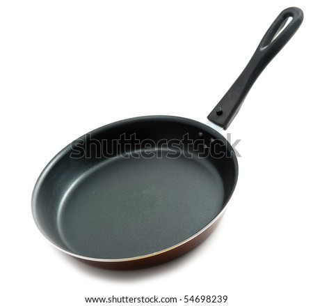 empty frying pan isolated over white