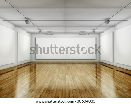 Empty Gallery, Hall with Frames, 3d Place