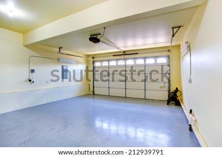 Empty garage interior in new house