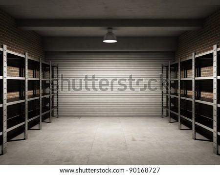 Empty garage with metallic shelves - stock photo