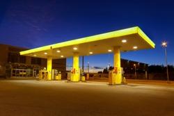 Empty gas station with blue night sky in Vuosaari, Finland