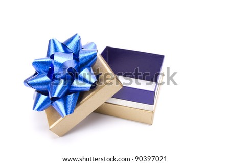 empty gift, a gold gift box with blue shiny ribbon opening empty inside.