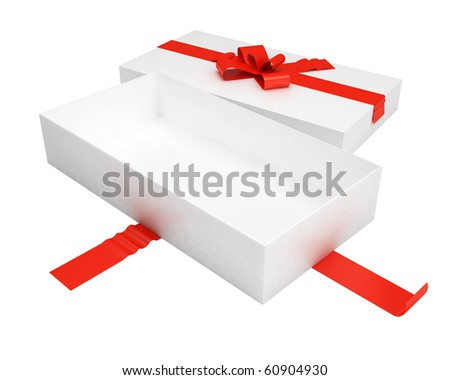 empty gift box with red ribbon and cover
