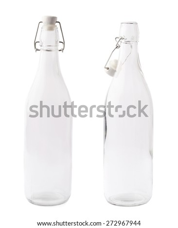 Empty glass bottle with the wire attached ceramic cap isolated over the white background, set of two images, closed and opened versions ストックフォト ©