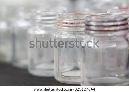 Empty  glass bottles background, color bottle