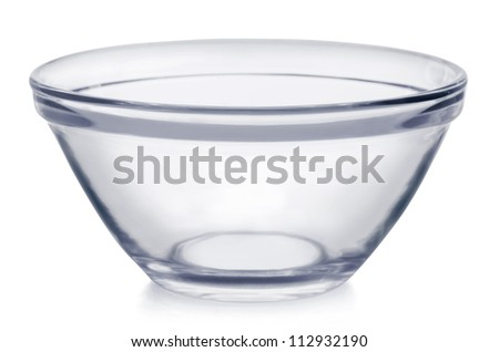 Empty glass bowl isolated on white