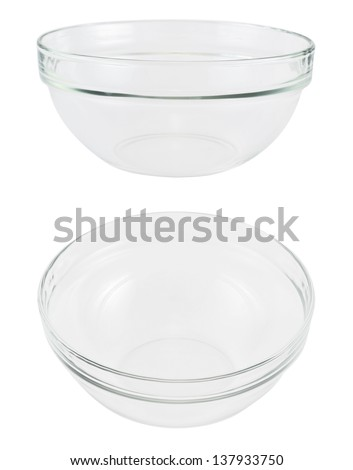 Empty glass bowl isolated over white background set of two
