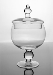 Empty glass bowl with lid