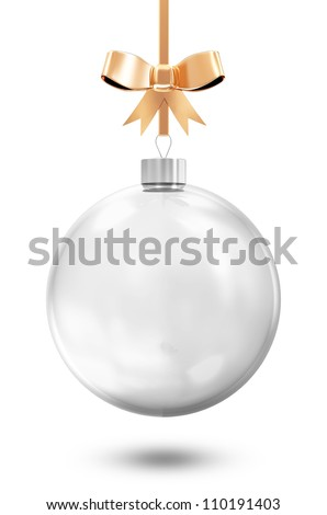 Empty Glass Christmas Ball with Golden Bow isolated on white background