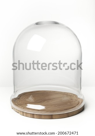 empty glass dome display case...