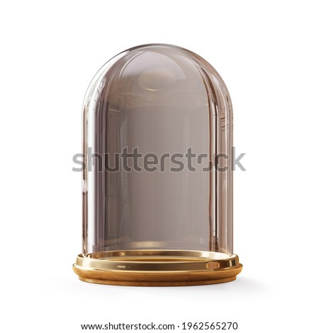 Empty glass dome on а white background. Clipping path included, 3d illustration Сток-фото ©