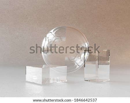 Empty glass exhibition stand, platform. Podium, platform for cosmetics in the room for advertising, business - 3D, render. Showcase for products, goods, medical laboratories.  商業照片 ©