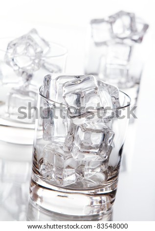 Empty glass filled with ice cubes