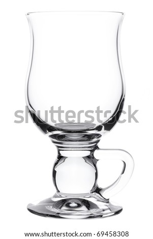 Empty glass for irish coffee isolated on white