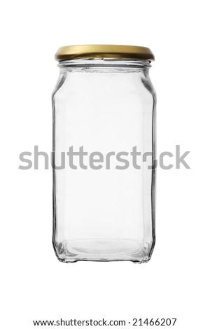 Empty glass jar against white background