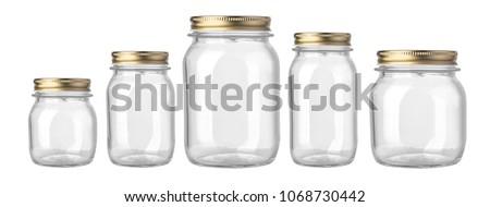 empty glass jar isolated on white background #1068730442