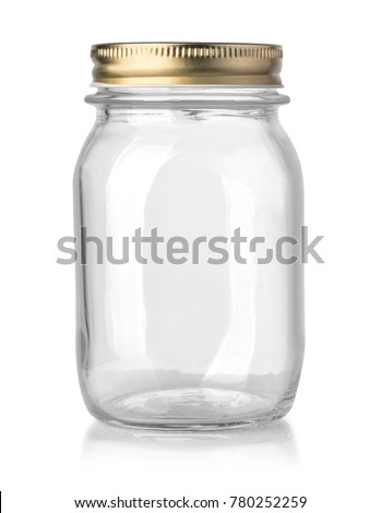 empty glass jar isolated on white with clipping path #780252259
