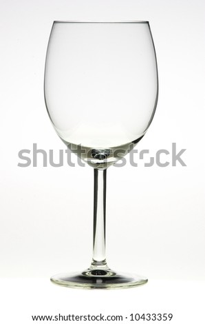 Empty glass of wine on white backround