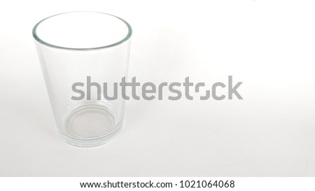 Empty glass on white background. copy space