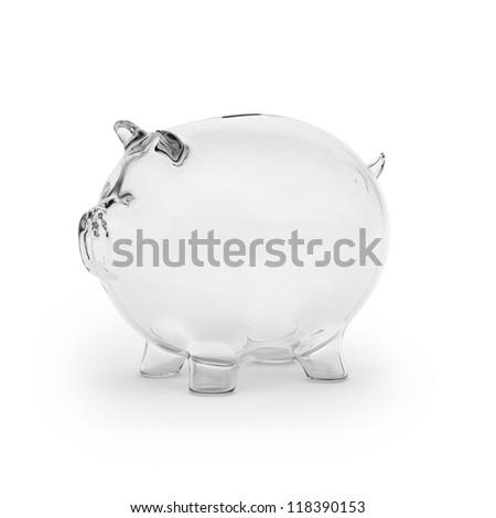 Empty glass piggy bank