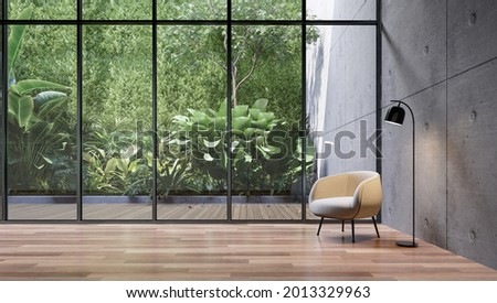 Empty glass room with tropical green plant wall background 3d render, There are wooden floor and concrete wall decorate with white fabric louge chair