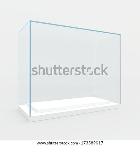 Empty glass showcase 3D render isolated on gray background