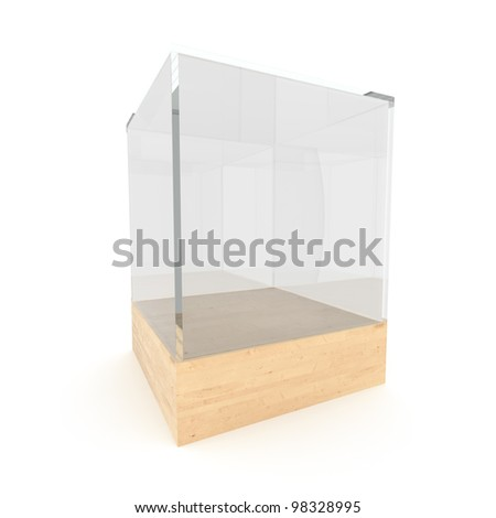 Empty glass showcase for exhibit isolated on white background