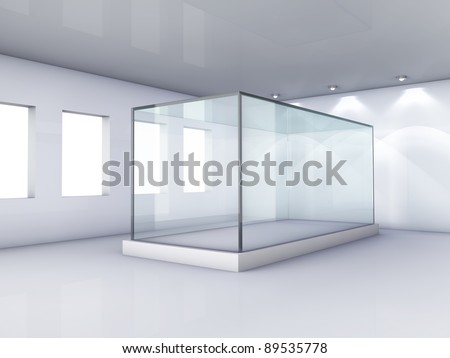 Empty glass showcase in grey room with windows