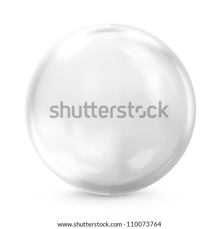 Empty Glass Sphere isolated on white background