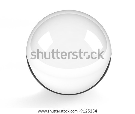 empty glass sphere on the white