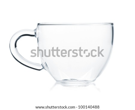 Empty glass tea cup. Isolated on white background