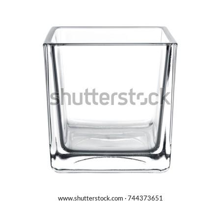 empty glass vase, square shape on white background  #744373651
