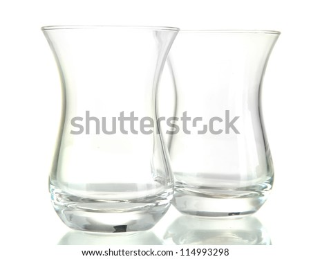 empty glasses for Turkish tea, isolated on white