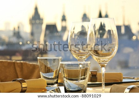 Empty glasses in restaurant Gold Prague
