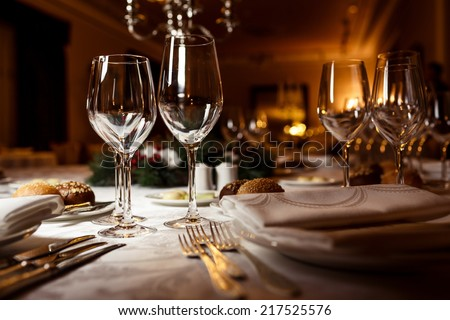 Empty glasses in restaurant. Table setting for celebration #217525576