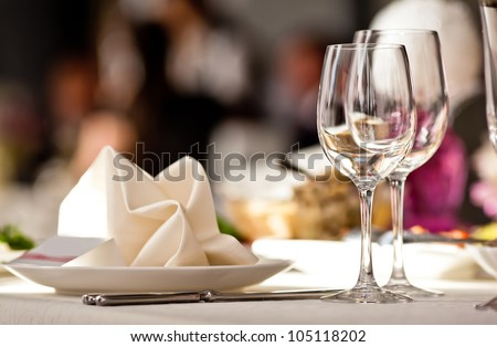 Empty glasses set in restaurant #105118202