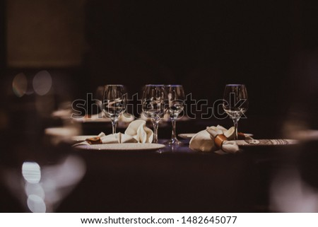 Empty glasses set in restaurant #1482645077