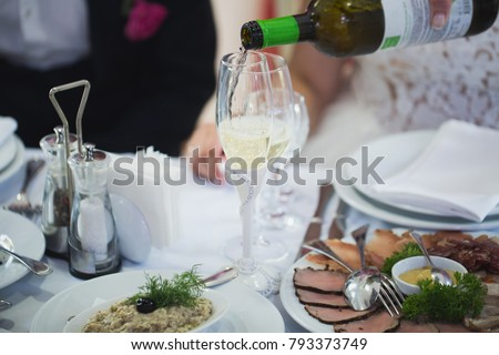Empty glasses set in restaurant #793373749