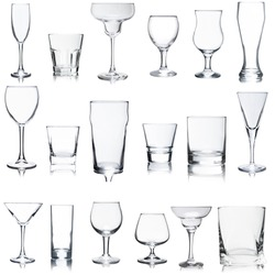 Empty glasses set on white background