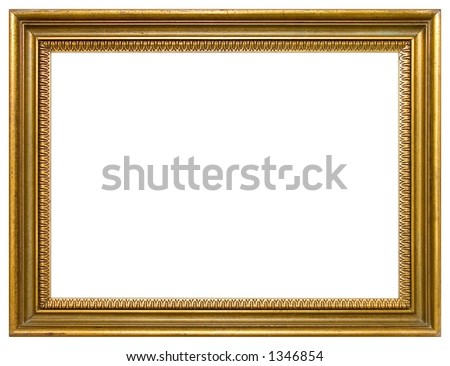 Empty gold frame isolated
