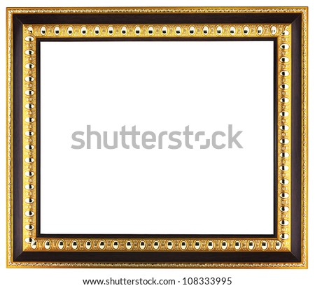 Empty golden picture frame isolated on white background