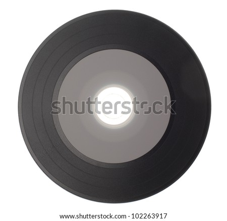 Empty Gramophone vinyl record isolated on white background