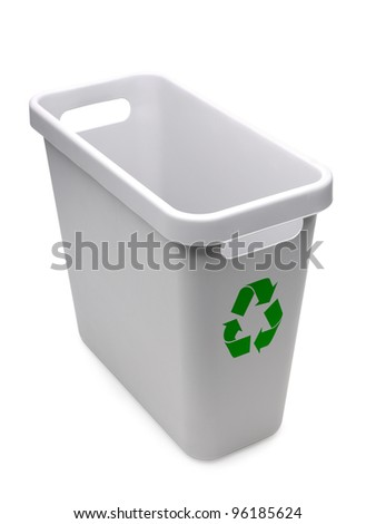Empty gray plastic recycle bin with green recycle logo over white background