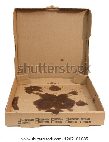 Empty greasy pizza box with lid open. Isolated.