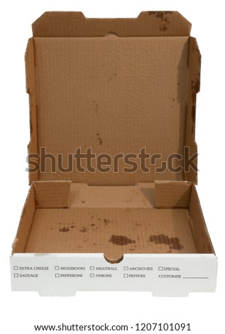 Empty greasy pizza boxes with lids open. Isolated.