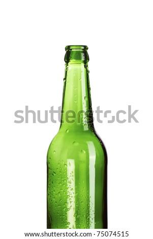 Empty green beer bottle with dew drops - stock photo