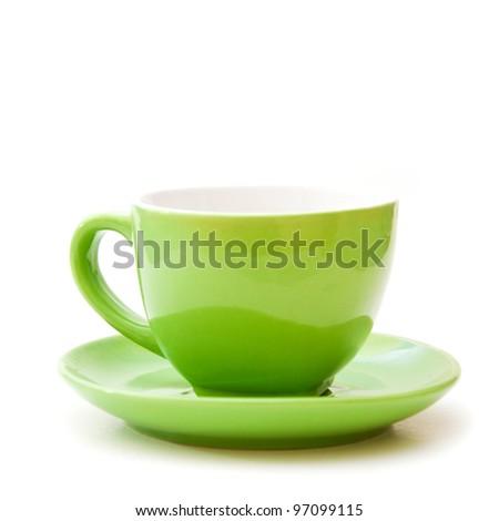 Empty green ceramic coffee cup