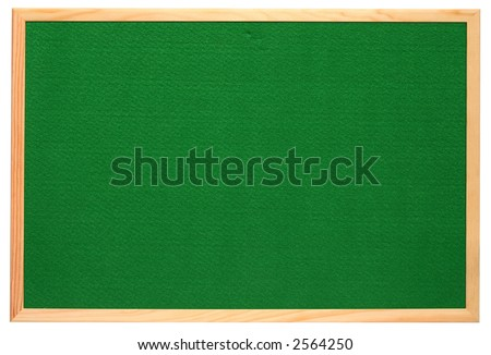 Empty green felt notice board, isolated on a white background. - stock photo