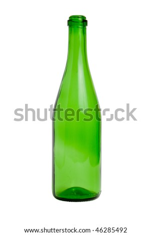 Empty green glass bottle isolated on white background